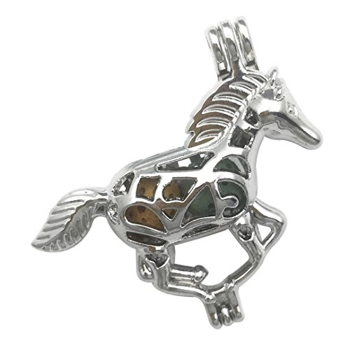 Charm Mustang - 10 PCS Animal Cage Pendant for Pearl Collection - Silver Colors Locket Perfume Essential Oil Diffuser Filigree Hollow Wish Alloy Metal Charms for Jewelry Making DIY Findings (Horse)