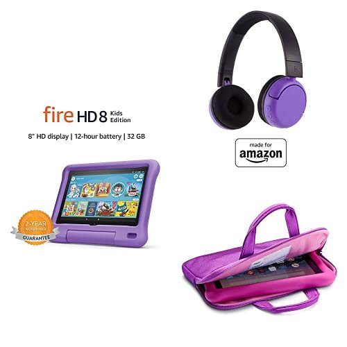 Fire HD 8 Kids Essential Bundle including Kids Fire HD 8 Tablet 32GB Purple + Poptime Bluetooth Headset (Ages 8-15) + Tablet Carrying Sleeve
