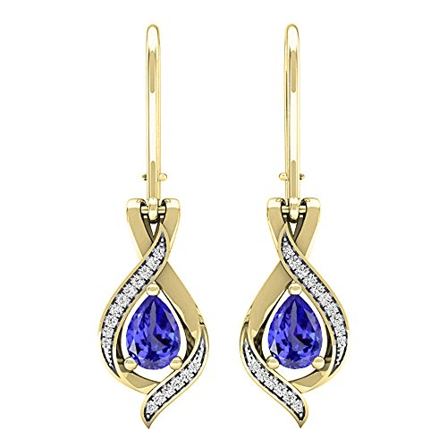 (Dazzlingrock Collection 10K 7X5 MM Each Pear tanzanite & Round White Diamond Ladies Drop Earrings, Yellow Gold)