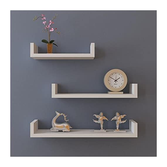 "Acazon Floating Shelves Set of 3 Wall Shelves U Shelves DIY for home, office, dorm Decoration (US STOCK) - QUALITY MATERIAL& DURABLE -These wall mounted shelves made of durable MDF Laminate. Thickness: 0.72"", thicker than other shelves, durable for long-time use FUN OF DIY -These Wall shelves allow you assemble this item into different style according to your needs and innovative imagination to enjoy the fun of DIY DIMENSIONS - Quite larger than most of shelves. Large shelf: 22.6""L x 5.2""W x 3.9"", Medium shelf: 17.5""L x 5.2""W x 3.9""H,Small shelf: 11.6""L x 5.2""W x 3.9""H. More space to hold your collections - wall-shelves, living-room-furniture, living-room - 41E23SUtuQL. SS570  -"