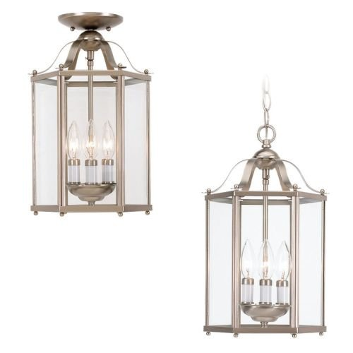 Sea Gull Lighting 5231-962 Bretton Three-Light Semi-Flush Convertible Pendant with Clear Glass Panels, Brushed Nickel Finish - Convertible Semi Flush 3 Light