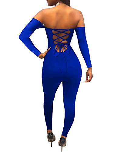 TOB Women's Sexy Bodycon Lace Up Off Shoulder Long Sleeve Club Long Romper Royal Blue -