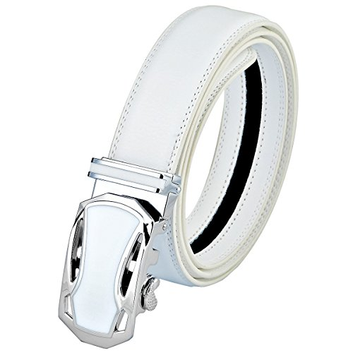 Style White Leather - moonsix Dress Belts for Men,Business Ratchet Genuine Leather Belt with Automatic Buckle,Style 1 White