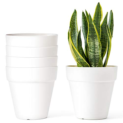 Mkono 5.5 Inch Plastic Planters, Set of 5 Indoor Flower Plant Pots Modern Decorative Gardening Pot with Drainage for All House Plants, Flowers, Herbs, African Violets, Foliage Plants, Cream White (5 Flower Pot)