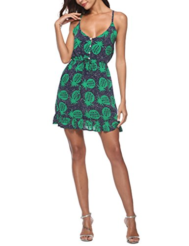 Style Slip Yiwa Festival Gift Women Clothes Bohemia Sexy Club Dress Green Beach Pineapple Summer Party for Printed X8nrXq