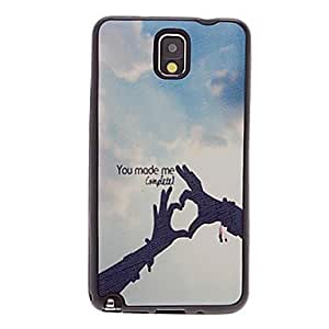 hao Hand-Made Heart-Shape Pattern Faux Leather and Plastic Soft Back Case Cover for Samsung Galaxy Note 3