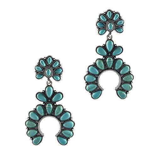 Wonderent Turquoise Fanwise Delicate Dangle Metal Earring