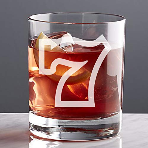 (Casino Theme Custom Etched Whiskey 11 oz Rocks Glass)