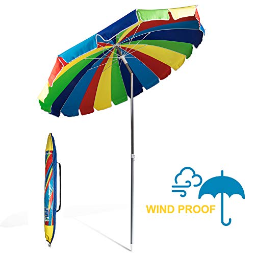 690GRAND Giant Windproof 8FT Rainbow Outdoor Umbrella with Crank Tilt and Carry Bag 20 Panels Sturdy Polyester Canopy Vents for Sand Beach Camping UPF50+