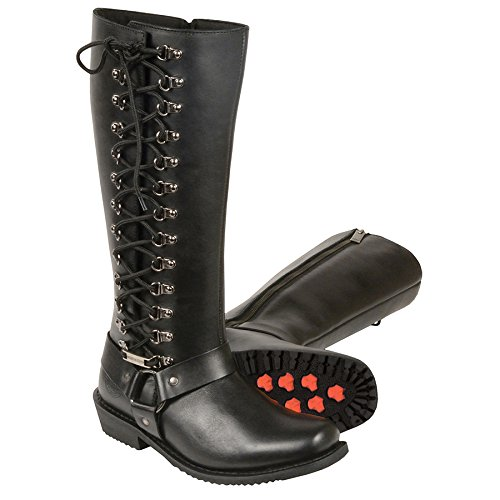 Milwaukee Leather Women's Tall Boots with Side Lacing (Black, Size 11)
