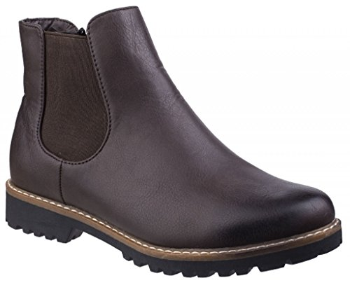 Brown Faux Brown Boots Leather Ladies GRACE Divaz Chelsea nqfR70w6