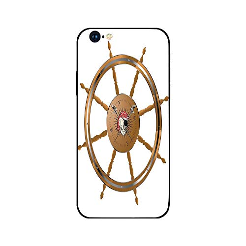 Phone Case Compatible with iphone6 iphone6s mobile phone covers phone shell Brandnew Tempered Glass Backplane,Ships Wheel Decor,Wooden Steering Wheel with Image of Pirate Skull Seaman Lifestyle Oceani