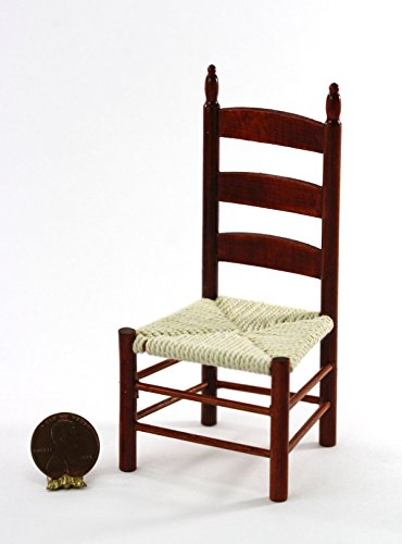Dollhouse Miniature 1:12 Cherry Ladderback Chair with Hand-Strung (Cherry Game Chair)
