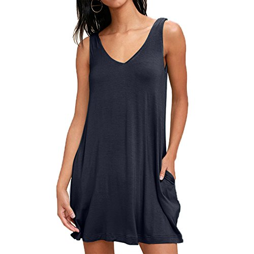 Cotton Sleeveless Cover Up - BigButer Women's Casual V Neck Sleeveless Swing T Shirt Dresses with Pockets