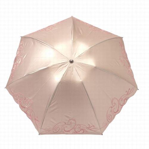 遮光kirakiraスワロ&ペイズリーモチーフ刺繍ミニ折りたたみ日傘(ピンクベージュ)