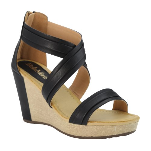 Bellamarie Nxt-14 Kvinnor Kors Och Tvärs Ankeln Strappy Tillbaka Zip Kil Plattform Sandal, Svart, 8