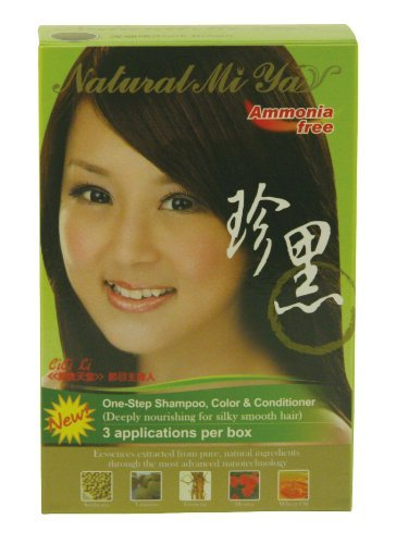 Price comparison product image Natural Miya Herbal Colorant One Step Hair Shampoo, Color & Condition, 3 Applications Per Box. Made in Taiwan (Dark Brown)