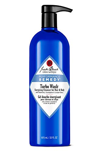JACK BLACK Turbo Wash Energizing Cleanser Hair and Body, Rosemary, Eucalyptus, Juniper Berry, Sulfate-Free Body and Hair Cleanser, Refreshing Aroma, Revitalizes for Peak Performance, 3 and 10 oz.