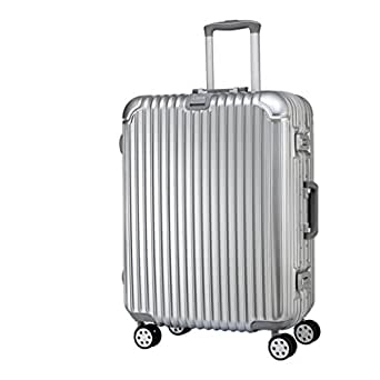 "American Traveler Pressure-Resistant Suitcase - Glossy Durable ABS + PC Suitcase with 360 Degree Spinner Wheels and Extra Space (29"", Silver)"