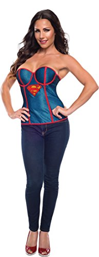 [Rubie's Costume Women's DC Comics Supergirl Corset with Fishnet Overlay, Blue/Red, Small] (Supergirl Black Costumes)