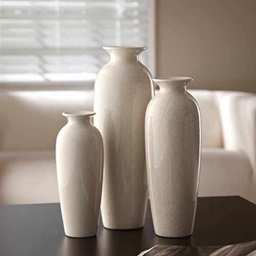 Amazon Hosley Set Of 3 Crackle Ivory Ceramic Vases In Gift Box