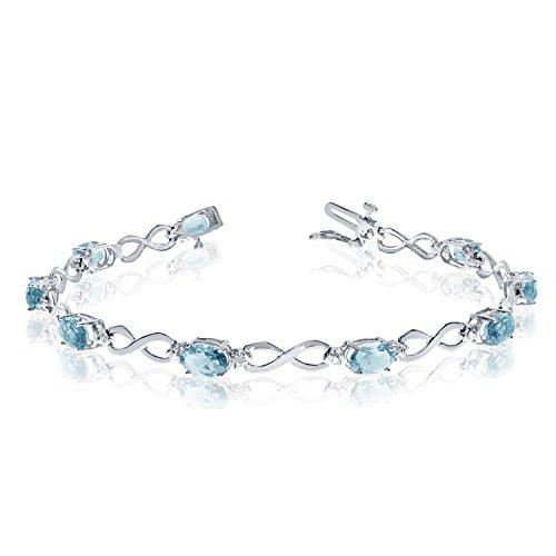 14K White Gold Oval Aquamarine and Diamond Bracelet (8 Inch ()