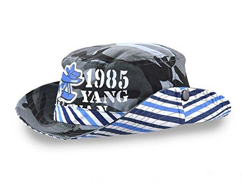 Randonnée Avec Camouflage Outdoor Acvip Mode Bleu Bob De Cordon Chapeau Voyage Soleil Enfant couleur Pêche rayure Fille Casquette Garçon q4zRf