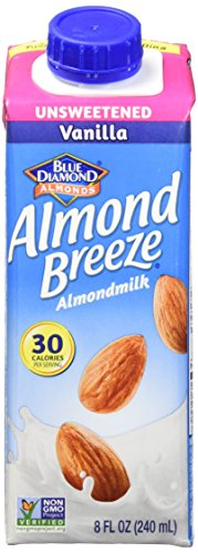 Almond Breeze Dairy Free Almondmilk, Unsweetened Vanilla, 8 Ounce (Pack of 12)