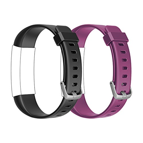 Lintelek TPU Replacement Straps Fitness Tracker Watch ID130Plus HR,Black +Purple