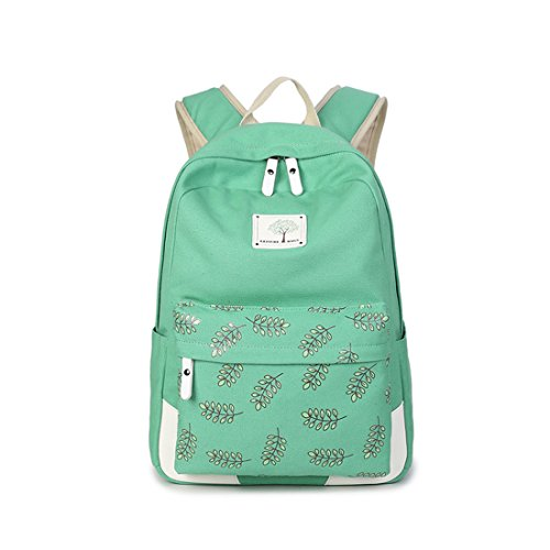 FXTXYMX Cute Lightweight Canvas Dot whit leaf pattern Bookbags School Backpack Large Capacity College Bags DaypackTravel Daypack for Girls Women - Girl Dot Large