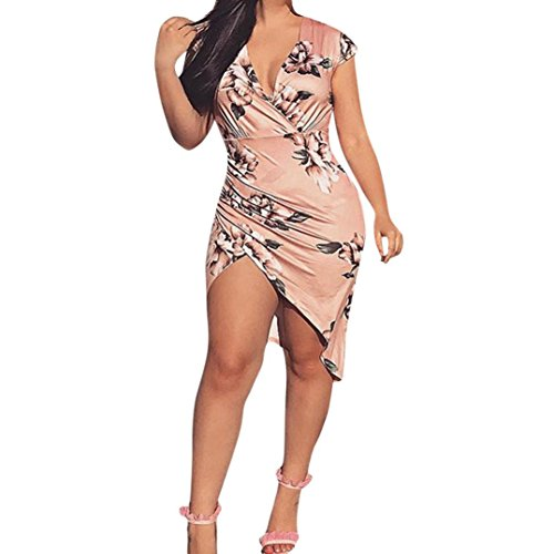 Ankola Dress,Womens Sexy Bodycon Floral Printing V Neck Short Sleeve Outfit Mini Club Tank Dress Evening Party Dress (S, Pink) ()