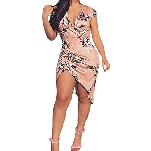 Ankola Dress,Womens Sexy Bodycon Floral Printing V Neck Short Sleeve Outfit Mini Club Tank Dress Evening Party Dress (L, Pink)]()