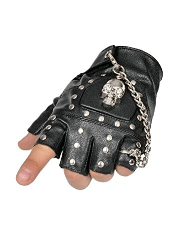 Minibee Women's Fingerless Rivets Cycling Rock Punk Street Gloves A Pair (Black 5)