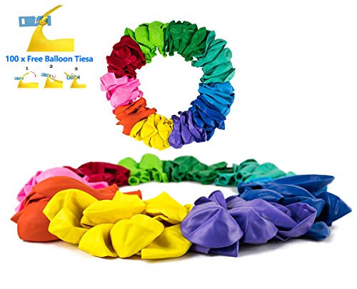 (100 pcs 12 inch Latex Colorful Balloons Thick Solid Rainbow Balloons 10 Different Colors for Multi Color Balloon Theme Party, Balloon Garland, Balloon Arch, and Balloon Column)