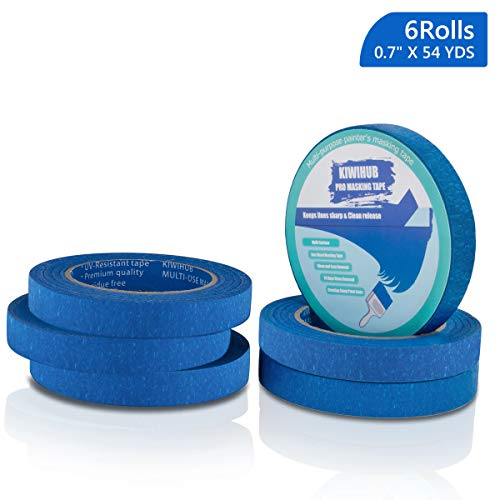 6 Pack 0.7 inch Blue Painters Tape, Professional Paint Tape Medium Adhesive That Sticks Well but Leaves No Residue Behind, Wall Friendly Tape by KIWIHUB