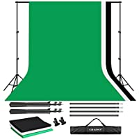 CRAPHY Photo Video Studio 10 x 6.5ft Background Stand Kit Photography Support System with Muslin Cotton Backdrop (Green Black White, 9ft x 6ft) and Carry Bag
