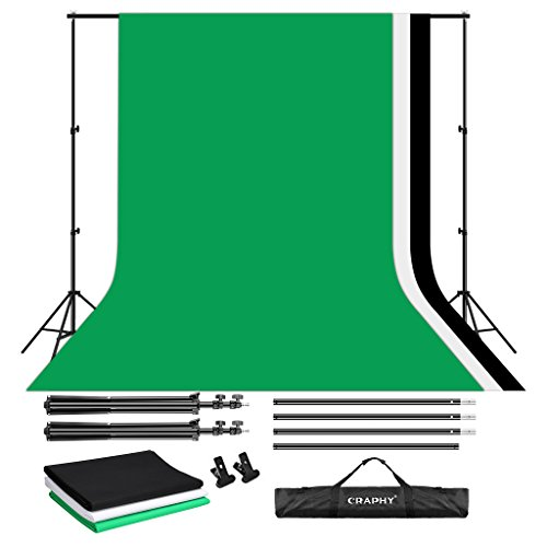 Photography Backdrop Kits (CRAPHY Photo Video Studio 10 x 6.5ft Background Stand Kit Photography Support System with Muslin Cotton Backdrop (Green Black White, 9ft x 6ft) and Carry Bag)