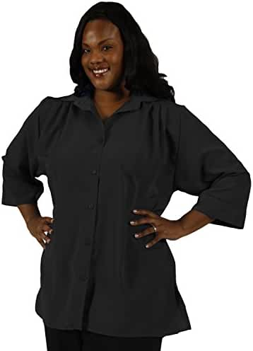 Black 3/4 Sleeve Tunic Plus Size Woman's Blouse