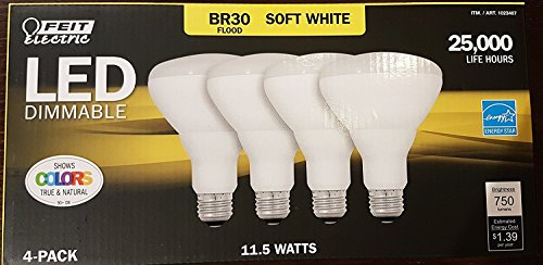 65 Watt Br30 Flood (Feit LED Dimmable BR30 Flood Soft White Bulbs 65 Watts 4 Pack)