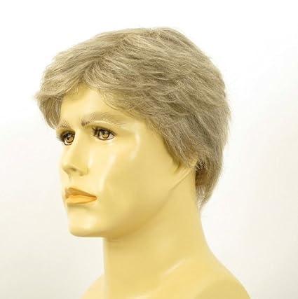 Peluca hombre corto de cabello 100% natural blanco y gris DAVID 51