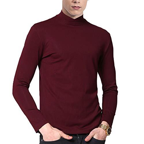 Allthemen En Col Vin Et Uni Doux Modal Mercerisé pull Rouge Manches Le shirt Montant Pull Sous Coton Slim Homme T Fit Longues OqxOAS8