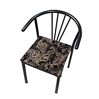 Bardic HNTGHX Outdoor/Indoor Chair Cushion Ethnic Tribal Paisley Square Memory Foam Seat Pads Cushion for Patio Dining, 16