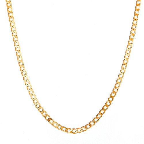 Followmoon 18k Gold Plated Cuban Link Chain Necklace
