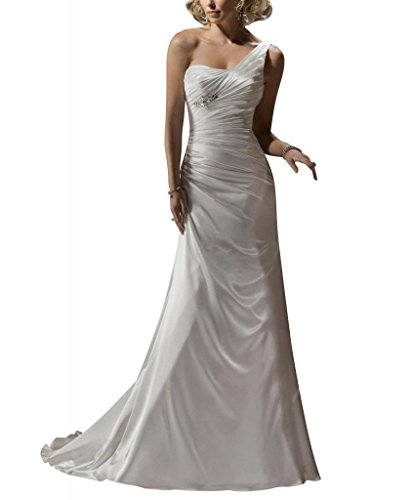 Hochzeitskleider Zug Weiß Elegante Satin BRIDE Brautkleider Schulter GEORGE Gericht Eine einfache 1UAzWqw