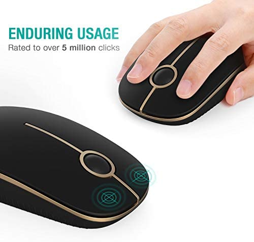 Jelly Comb 2.4G Slim Wireless Mouse with Nano Receiver MS001 (Black and Gold) 41E28YknCvL