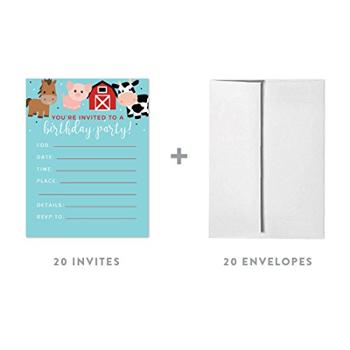 Andaz Press Red Farmhouse Barnyard Birthday Party Collection, Blank Invitations with Envelopes, 20-Pack]()