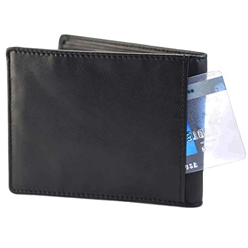 Mens Leather Bifold Wallet with a Generous Coin Compartment, Back-Slip Pocket and Strong RFID Protection Color Black 2401-BK