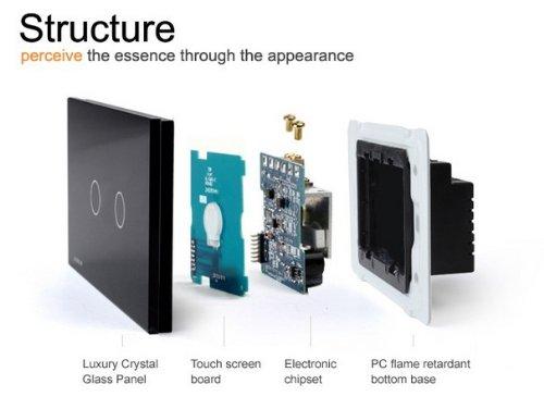 NIMTEK US/AU Standard, 2-gang 2-way, VL-C302S-82, Touch Screen Light Switch with LED indicator, Black Crystal Glass Panel by NIMTEK (Image #1)