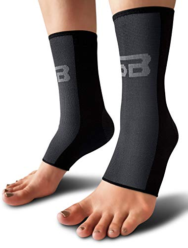 SB SOX Compression Ankle Brace (Pair) - Great Ankle Support That Stays in Place - for Sprained Ankle and Achilles Tendon Support - Perfect Ankle Sleeve for Sports, Any Use (Black/Gray, Large) ()