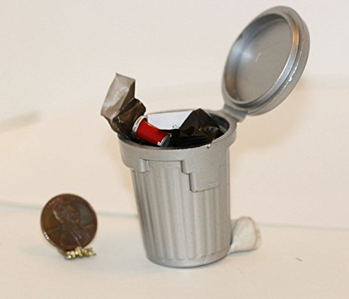 Dollhouse Miniature Tin Garbage Can with Filled Plastic (Tin Toy Miniatures)